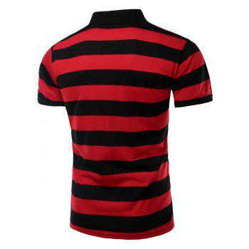 Men's Stripes Turn-down Collar Short Sleeves Polo T-Shirt - RED L