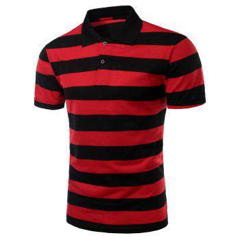 Men's Stripes Turn-down Collar Short Sleeves Polo T-Shirt - RED RED