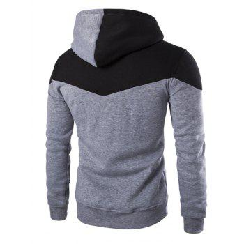 IZZUMI Classic Color Block Front Pocket Hooded Long Sleeves Men's Hoodie - LIGHT GRAY 2XL