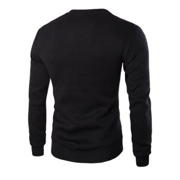 Color Block PU Leather Splicing Round Neck Long Sleeves Men's Sweatshirt - BLACK L