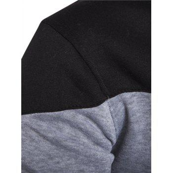 IZZUMI Classic Color Block Front Pocket Hooded Long Sleeves Men's Hoodie - LIGHT GRAY L