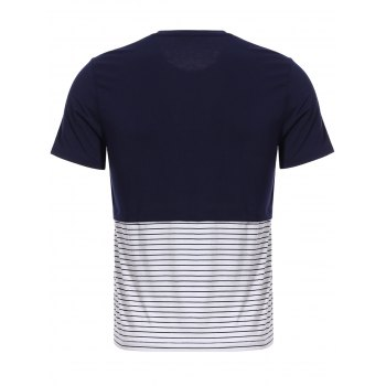 Vogue col rond Zipper Color Block Stripes Spliced ​​Men  's manches courtes T-shirt - Cadetblue 3XL