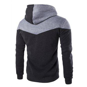 IZZUMI Classic Color Block Front Pocket Hooded Long Sleeves Men's Hoodie - DEEP GRAY XL
