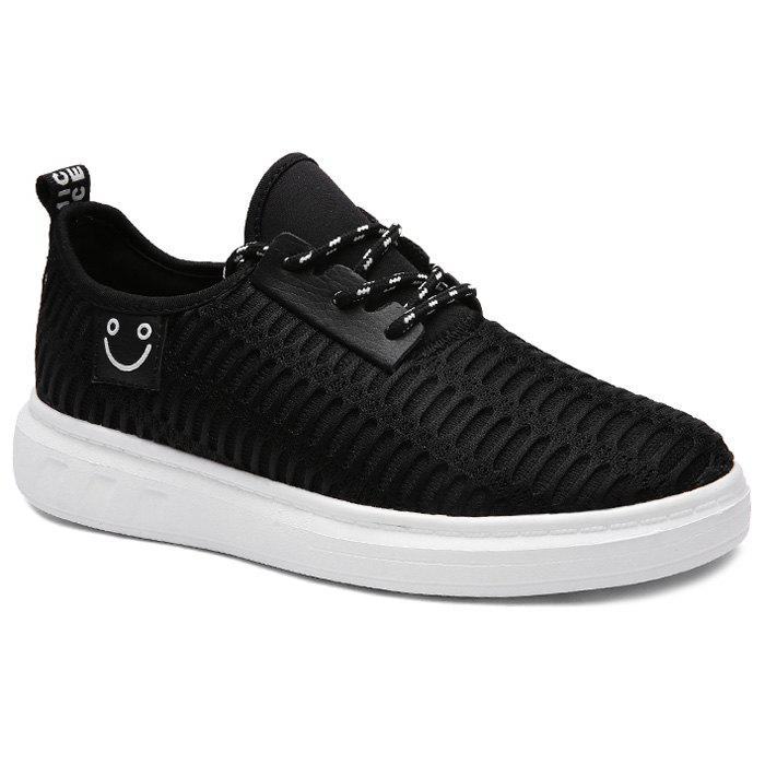 Fashionable Letter Pattern and Smiling Face Design Men's Casual Shoes - BLACK 40