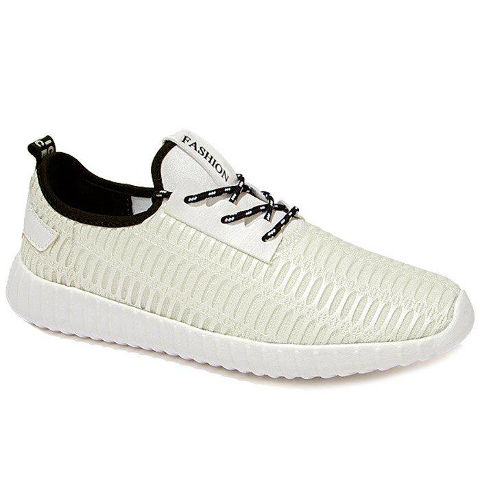 Stylish Hit Color and Lace-Up Design Men's Athletic Shoes - WHITE 44
