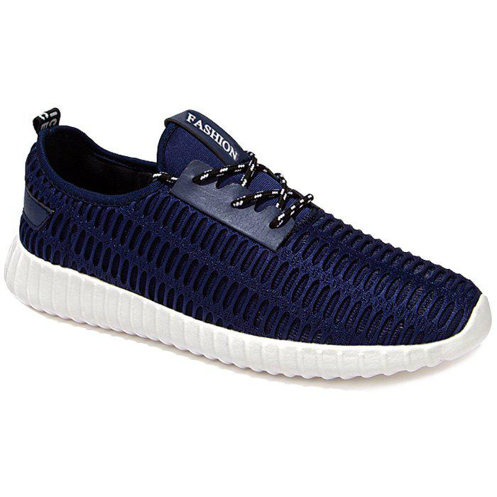 Stylish Lace-Up and Mesh Design Men's Athletic Shoes - DEEP BLUE 44