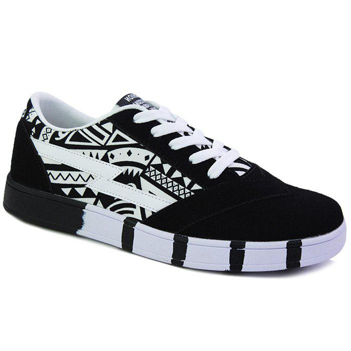 Trendy Lace-Up and Hit Color Design Men's Casual Shoes - BLACK 39