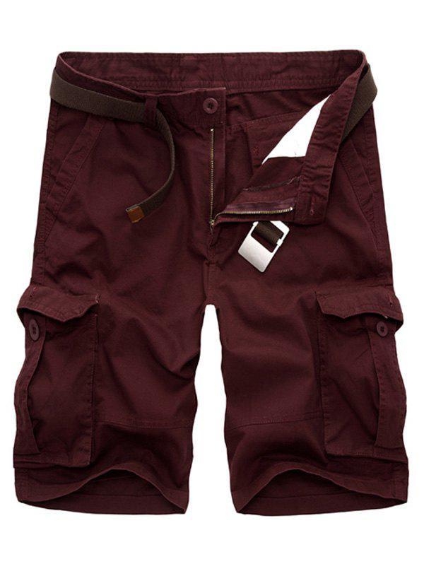 Casual Loose Fit Multi-Pockets Men's Cargo Shorts - WINE RED 34