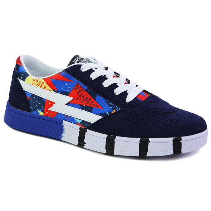Stylish Multicolor and Lace-Up Design Men's Casual Shoes - DEEP BLUE 40
