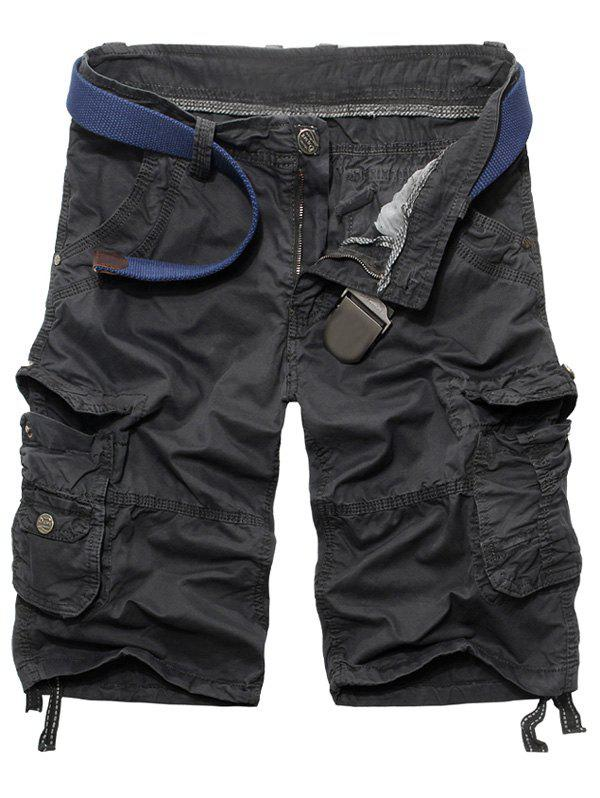 Fashion Loose Fit Multi-Pockets Men's Cargo Shorts - DEEP GRAY 38