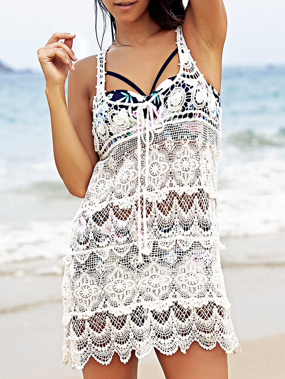 Chic Crochet Pattern U Neck Sleeveless White Cover-Up For Women - WHITE ONE SIZE(FIT SIZE XS TO M)