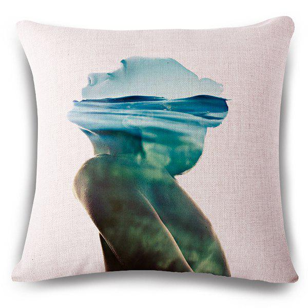 Casual Seawater and Person Pattern Square Shape Flax Pillowcase (Without Pillow Inner) - COLORMIX