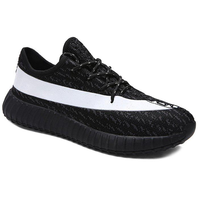 Fashionable Lace-Up and Hit Color Design Men's Athletic Shoes - WHITE/BLACK 43