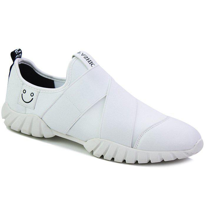 Trendy Smiling Face and Elastic Band Design Men's Casual Shoes - WHITE 39