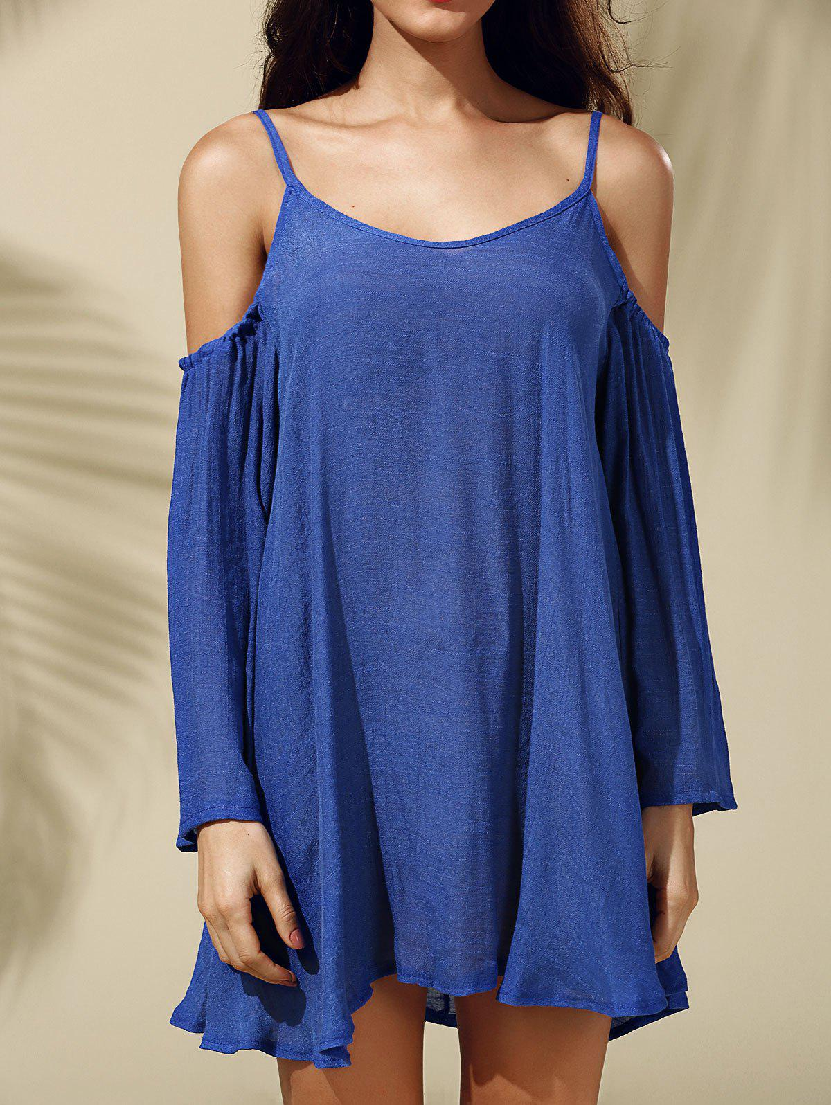 Stylish Women's Strappy Cold Shoulder Solid Color Dress - BLUE S