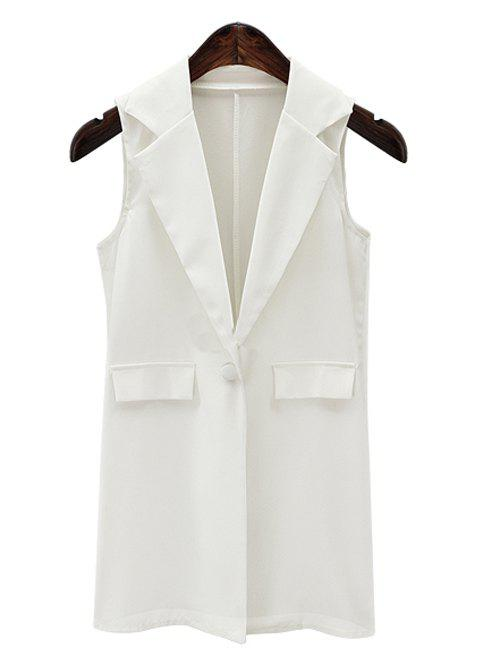 Fashionable Lapel Collar Loose-Fitted One Button Women's Long Waistcoat - WHITE 3XL