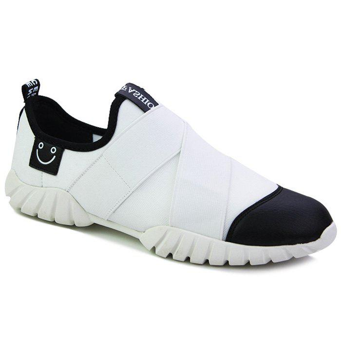 Stylish Elastic Band and Hit Color Design Men's Casual Shoes - WHITE/BLACK 42