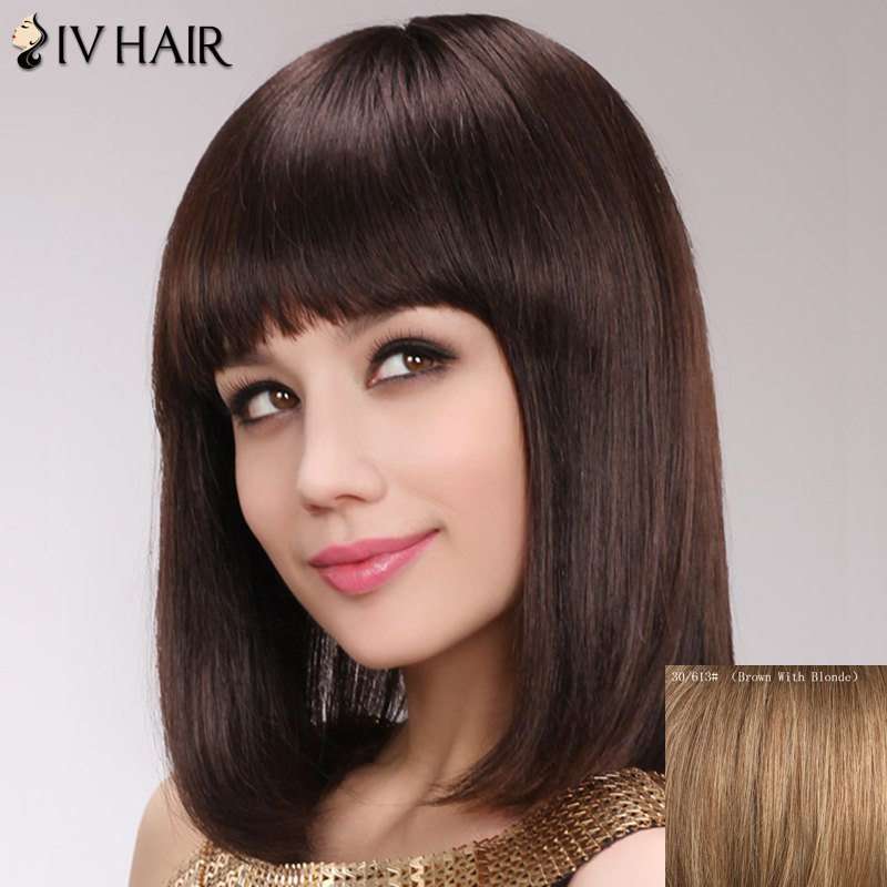 Charming Silky Straight Capless Human Hair Medium Full Bang Women's Siv Hair Wig - BROWN/BLONDE