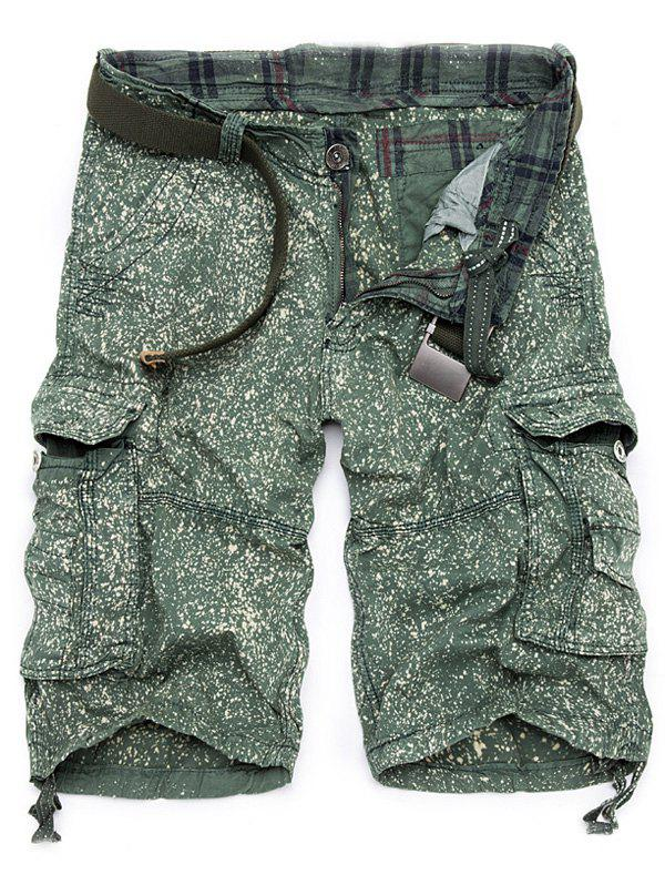 Trendy Men's Loose Fit Multi-Pockets Printed Cargo Shorts - GREEN 30