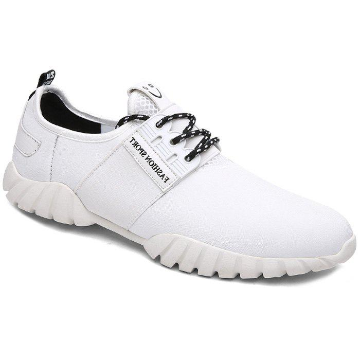 Trendy Solid Color and Elastic Band Design Men's Casual Shoes - WHITE 44