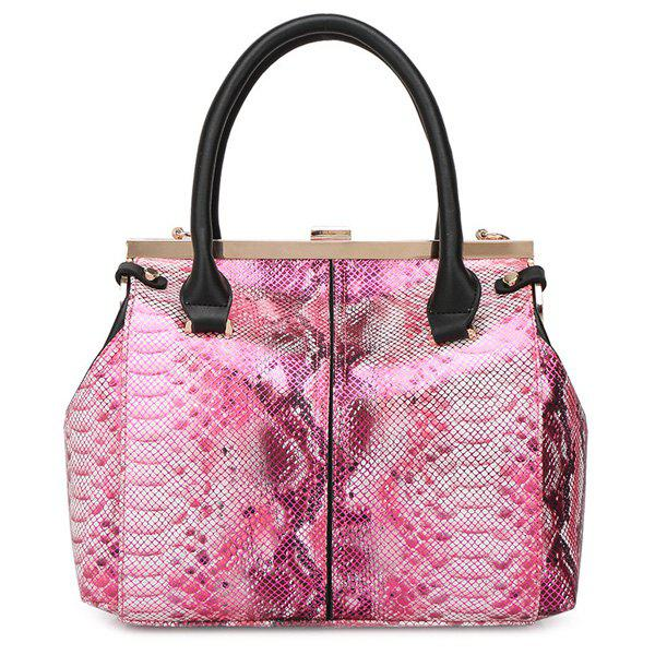 Retro Metal and Snake Print Design Women's Tote Bag - ROSE