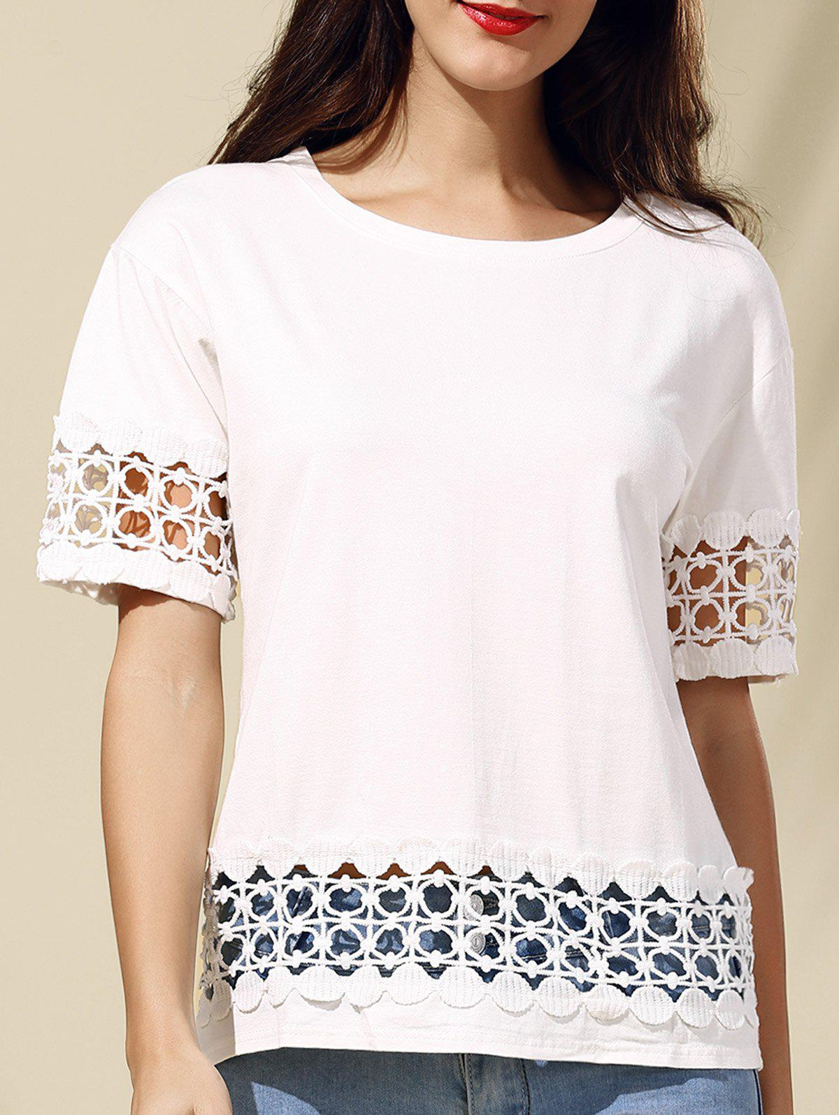 Trendy Short Sleeve Round Neck Hollow Out Lace Spliced Women's T-Shirt - L WHITE