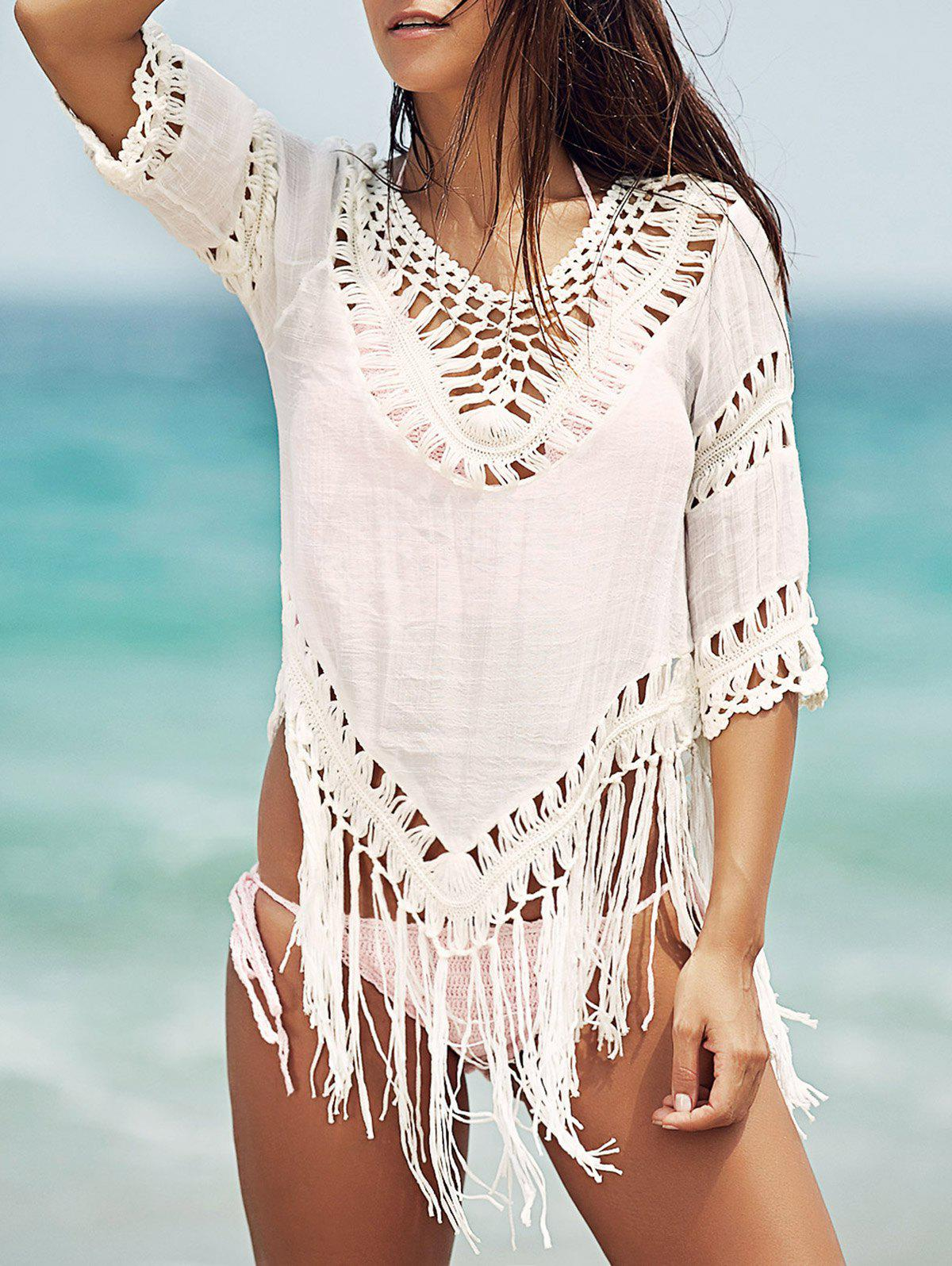 Chic V-Neck Crochet Pattern 3/4 Sleeve White Cover-Up For Women - WHITE ONE SIZE(FIT SIZE XS TO M)