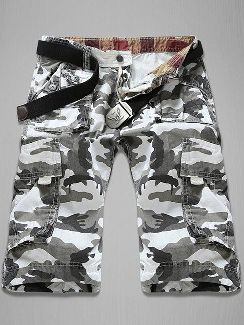 Trendy Loose Fit Multi-Pockets Camo Printed Men's Cargo Shorts - 29 WHITE