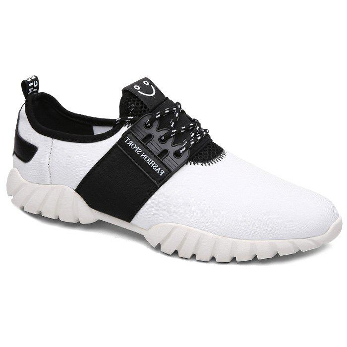 Stylish Lace-Up and Hit Color Design Men's Casual Shoes - WHITE/BLACK 42