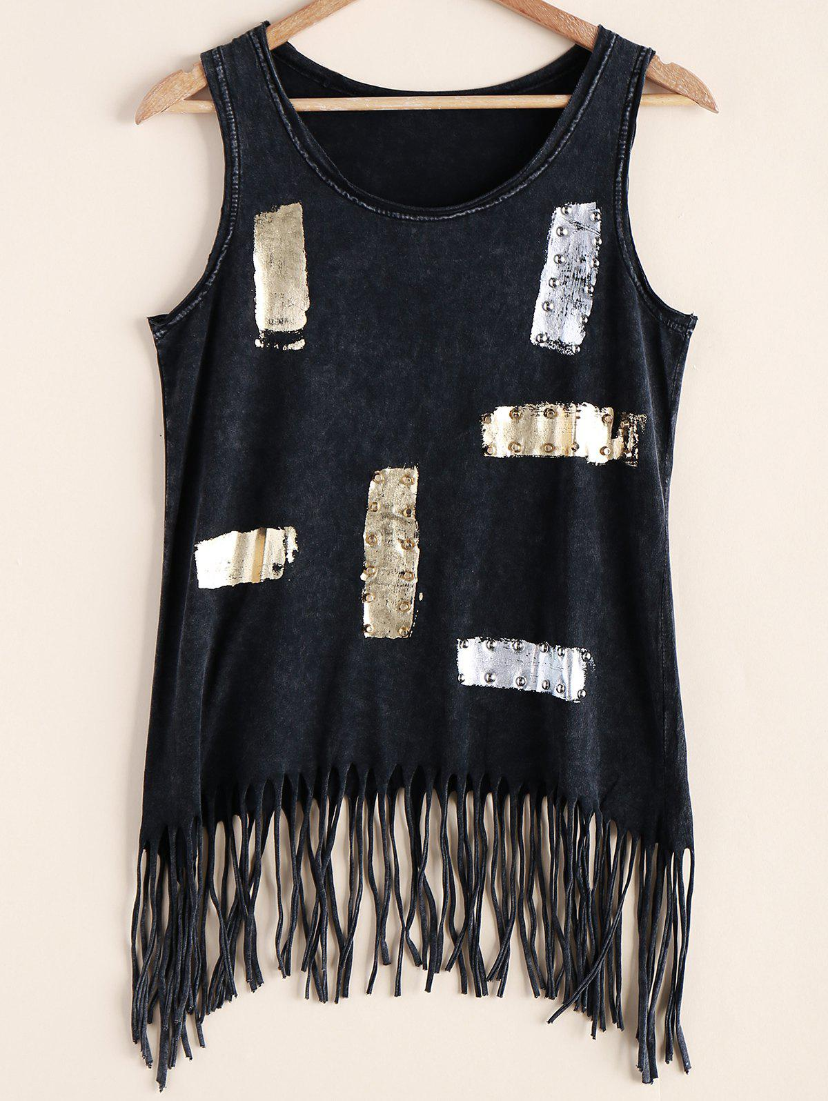 Trendy Fringed Sequined Rivet Decorated Tank Top For Women trendy beads anchor decorated bracelet for women