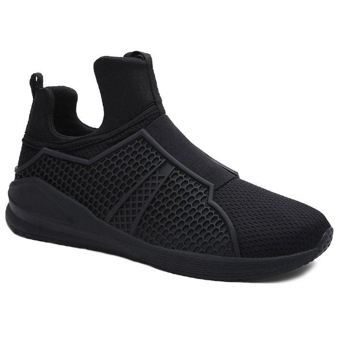 Slip On Mesh Sneakers - BLACK 42