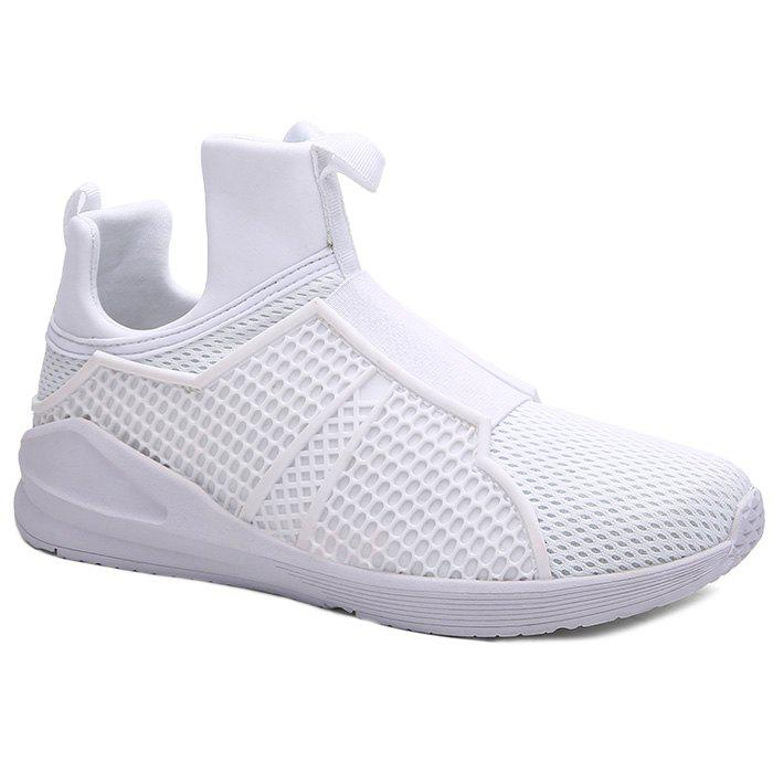 Fashionable Elastic Band and Solid Color Design Men's Athletic Shoes