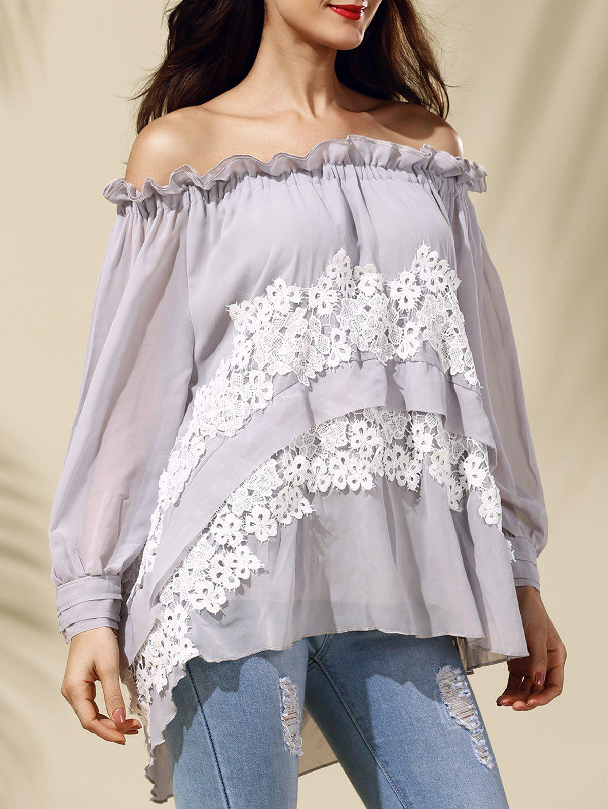 Chic Off The Shoulder Asymmetrical Lace Spliced Women's Blouse - LIGHT GRAY M