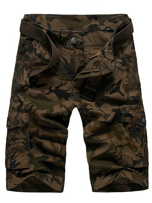 Fashion Loose Fit Camo Printed Men's Cargo Shorts - COFFEE 29