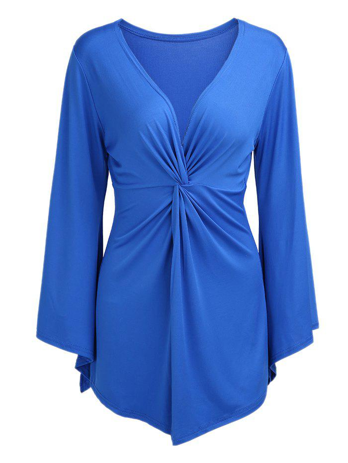 Stylish Knotted Plunging Neck Solid Color Long Bell Sleeve Women's Blouse