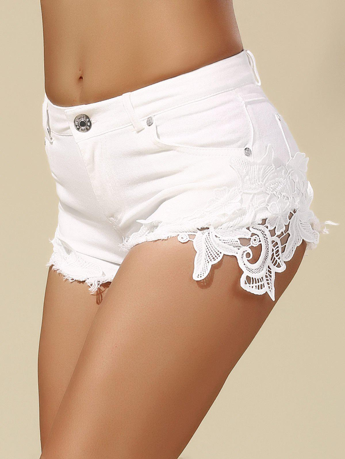 Mid Waist Lace Panel Shorts - WHITE S