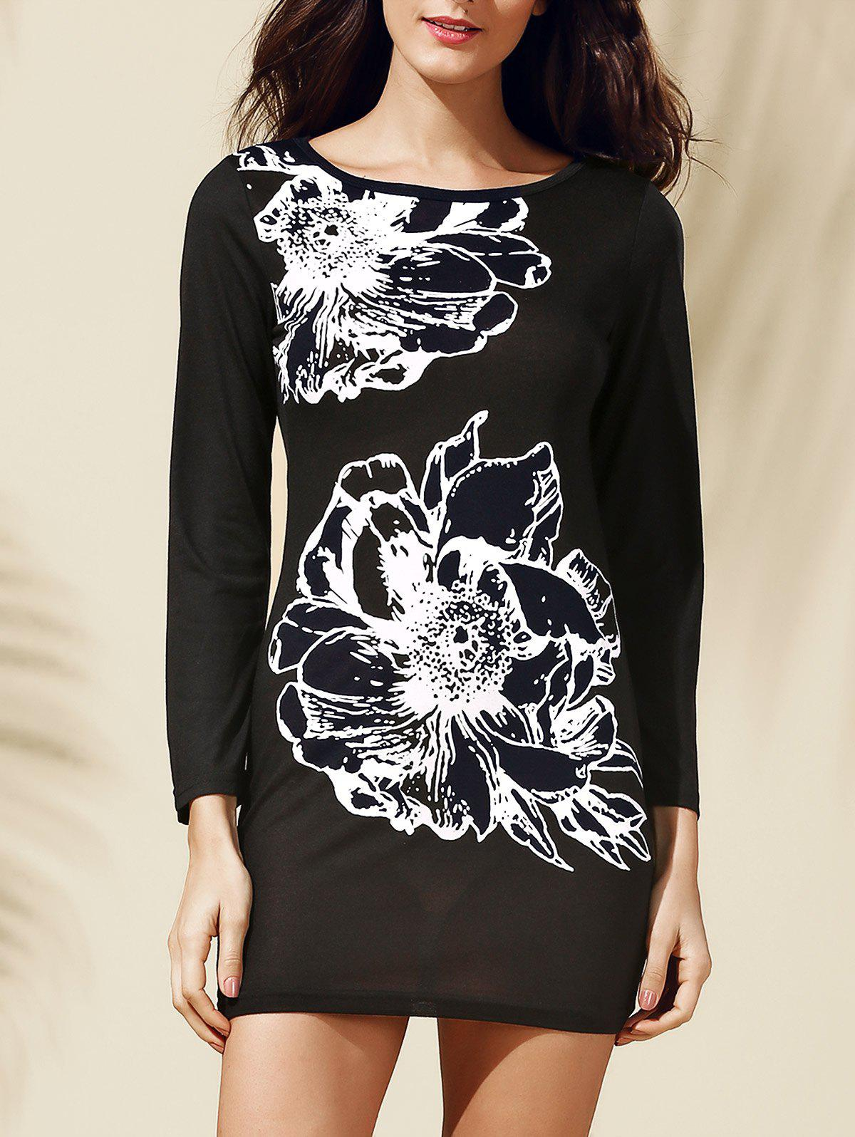 Chic Women's Jewel Neck Long Sleeves Floral Print T-Shirt Dress - BLACK M