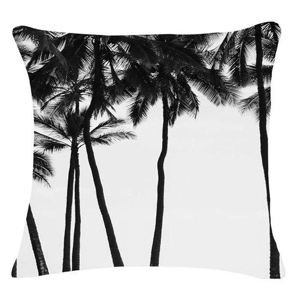 Casual Black and White Coconut Tree Pattern Square Shape Pillowcase (Without Pillow Inner) - WHITE/BLACK