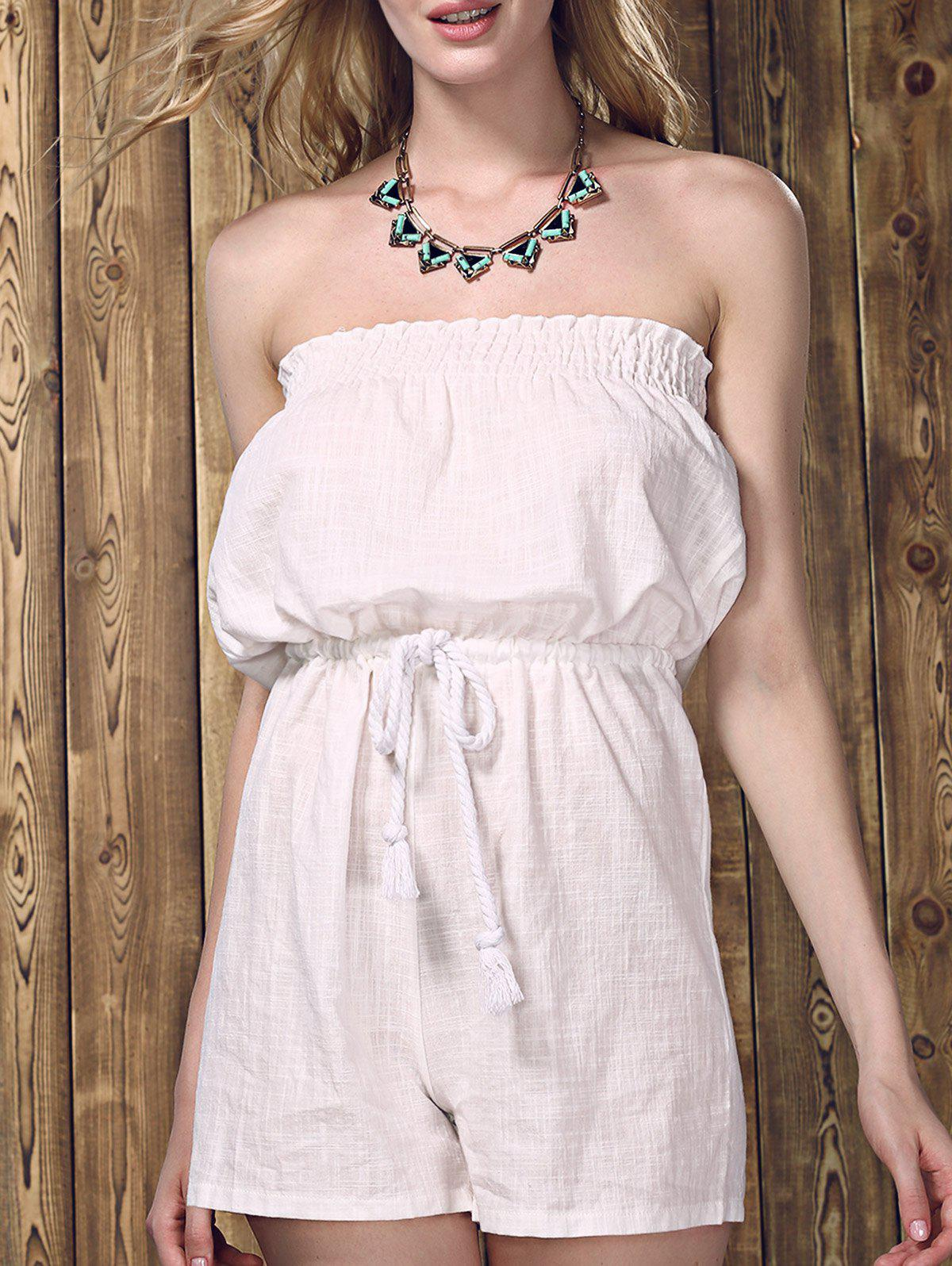 Charming Drawstring Solid Color Strapless Romper For Women - WHITE XL