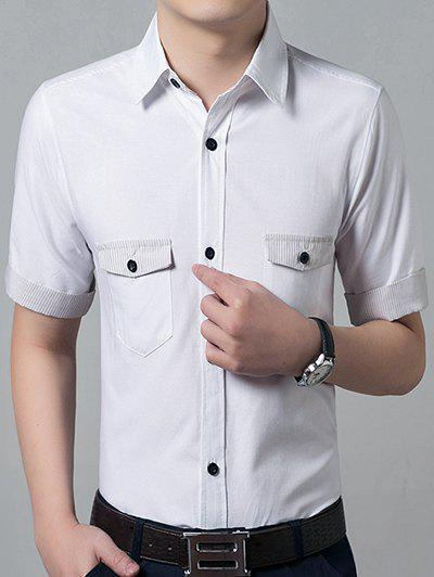 Casual Solid Color Short Sleeves Men's Shirts - WHITE S