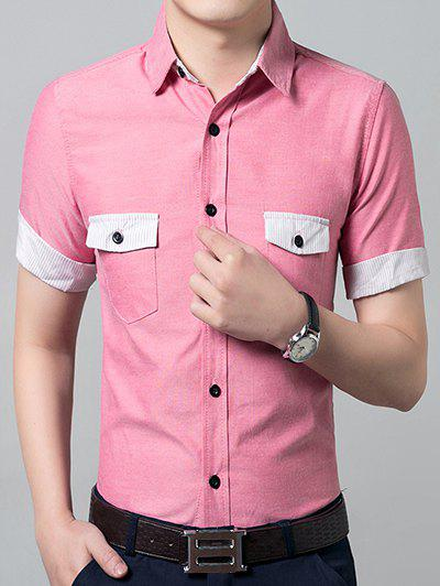 Casual solid color short sleeves men 39 s shirts pink l in for Solid color short sleeve dress shirts