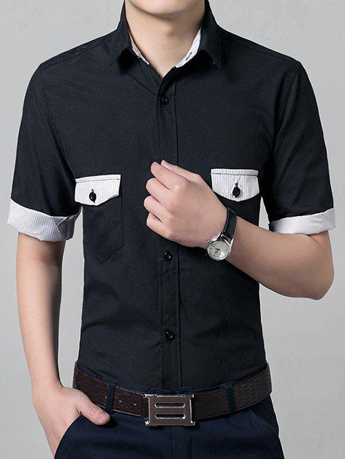 Casual Solid Color Short Sleeves Men's Shirts - BLACK S