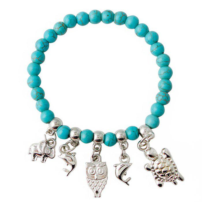 Ethnic Faux Turquoise Tortoise Owl Fish Bracelet For Women