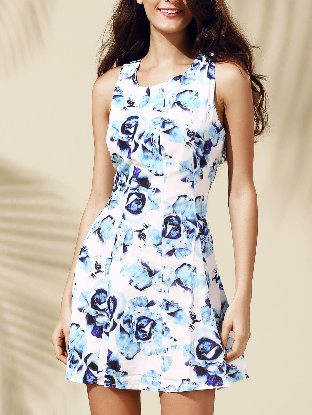 Casual Floral Print Sleeveless Round Collar Dress For Women - BLUE S