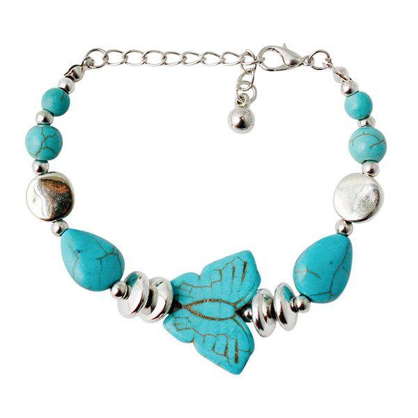 Ethnic Faux Turquoise Butterfly Bead Bracelet For Women