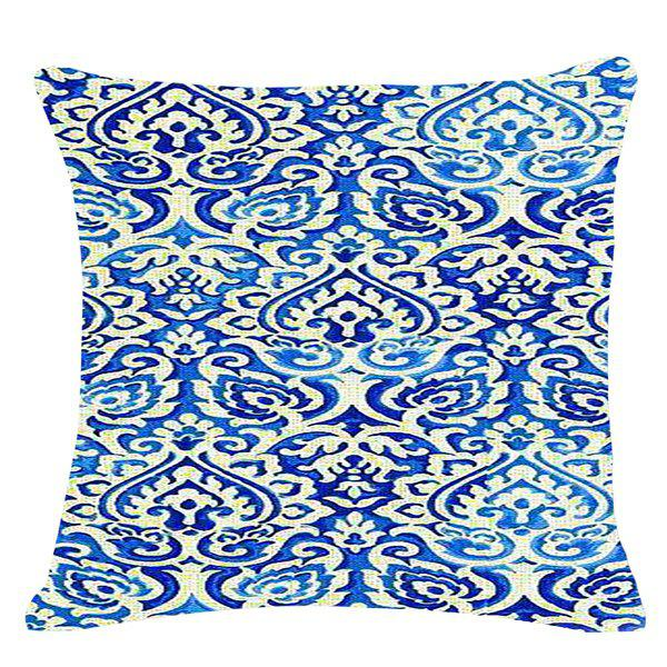 Chic Blue and White Porcelain Decorative Pattern Square Shape Pillowcase (Without Pillow Inner) - BLUE