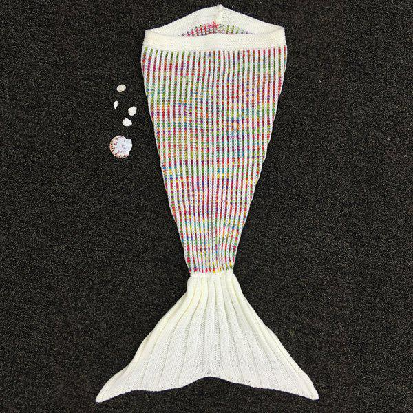 Knitted Fish Tail Sleeping Bag Mermaid Design Blanket For Kids -  COLORFUL