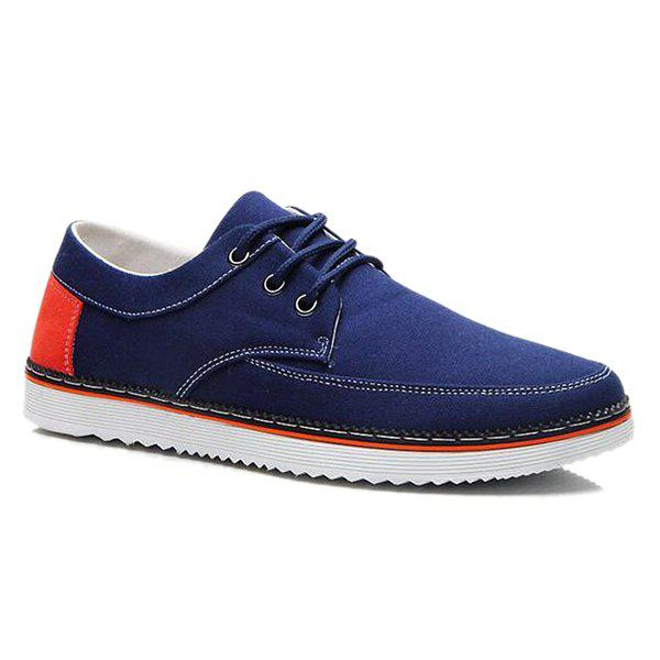 Casual Color Block and Lace-Up Design Men's Canvas Shoes - DEEP BLUE 42