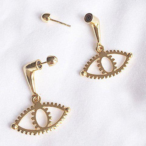 Pair of Eye Shape Hollow Out Earrings - GOLDEN