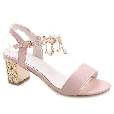 Casual Faux Pearls and Chunky Heel Design Women's Sandals - PINK 36